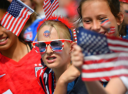 USA fans during the 2019 FIFA Women's World Cup Round Of 16 match Spain v USA at Stade Auguste Delaune on June 24, 2019 in Reims, France. USA won 2-1 reaching the quarter-finals. Photo by Christian Liewig/ABACAPRESS.COM