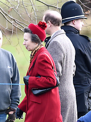 Princess Royal (left) and her husband Sir Timothy Laurenceleave after attending the morning church service at St Mary Magdalene Church in Sandringham, Norfolk.