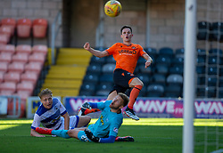 Dundee United's Lawrence Shankland scoring their third goal and his hat trick. Dundee United 6 v 0 Morton, Scottish Championship game played 28/9/2019 at Dundee United's stadium Tannadice Park.