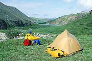 Alaska. Arctic National Wildlife Refuge ANWR . Camp with camper.