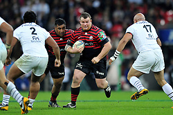 Saracens prop Matt Stevens goes on the charge - Photo mandatory by-line: Patrick Khachfe/JMP - Tel: 07966 386802 - 18/10/2013 - SPORT - RUGBY UNION - Wembley Stadium, London - Saracens v Toulouse - Heineken Cup Round 2.