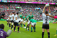 Romania's Andrei Radoi, throws in during the Rugby World Cup Pool D match between Ireland and Romania at Wembley Stadium, London, England on 27 September 2015. Photo by Phil Duncan.