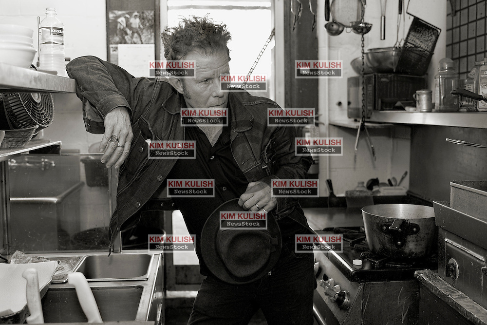 Portaits of Singer Songwriter Tom Waits in and around the Little Amsterdam restaurant near Petaluma, Calif.--Photo ©2004  by Kim Kulish