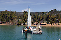 Catamaran, moored, Zephyr Cove, Nevada, USA, South Lake Tahoe. The lake itself is split vertically between Nevada in the East and California in the West. 201304261823<br /> <br /> Copyright Image from Victor Patterson, 54 Dorchester Park, Belfast, UK, BT9 6RJ<br /> <br /> Tel: +44 28 9066 1296<br /> Mob: +44 7802 353836<br /> Voicemail +44 20 8816 7153<br /> Skype: victorpattersonbelfast<br /> Email: victorpatterson@me.com<br /> Email: victorpatterson@ireland.com (back-up)<br /> <br /> IMPORTANT: If you wish to use this image or any other of my images please go to www.victorpatterson.com and click on the Terms & Conditions. Then contact me by email or phone with the reference number(s) of the image(s) concerned.