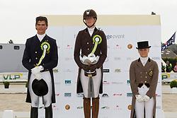 1 Verwimp Jorinde (BEL), 2 Muyters Michel (BEL), 3 Lisa Busschaert (BEL) <br /> BK Juniors<br /> Flanders Dressage Event Hulsterlo 2012<br /> © Dirk Caremans