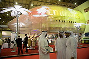 Dubai 2005, 9th International Aerospace Exhibition..First appearance of the new Airbus A380 in the Middle East and in the livery of its biggest buyer Emirates Airlines (45 planes ordered to date).Emirates stand sporting a 95% life size mockup of the A380's front section.