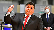 Illinois Governor J.B. Pritzker speaks after touring the mass vaccination site at the Belle-Clair Fairgrounds in Belleville, IL on February 18, 2021.<br /> Photo by Tim Vizer