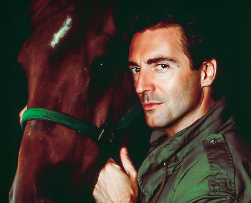 Armand Assante with his horse at home in upper state in New York.