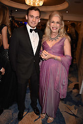 Lady Colin Campbell and her son Dima Ziadie-Campbell. at the Chain of Hope Gala Ball held at the Grosvenor House Hotel, Park Lane, London England. 17 November 2017.