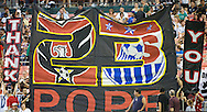 Memners of D.C. Ultras unfurl a thank you banner for Eddie Pope. DC United continued their abysmal season with a 2-1 home loss to the visiting LA Galaxy at RFK Stadium in Washington DC.
