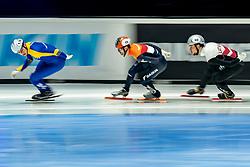 Itzhak de Laat of Netherlands in action on 1000 meter during ISU World Short Track speed skating Championships on March 05, 2021 in Dordrecht