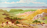 Nazareth cityscape Coloured Illustration of from the book Palestine illustrated by Sir Richard Temple, 1st Baronet, GCSI, CIE, PC, FRS (8 March 1826 – 15 March 1902) was an administrator in British India and a British politician. Published in London by W.H. Allen & Co. in 1888