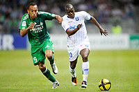 FOOTBALL - FRENCH CHAMPIONSHIP 2010/2011 - L1 - AJ AUXERRE v AS SAINT ETIENNE - 9/04/2011 - PHOTO GUY JEFFROY / DPPI - AMADOU SIDIBE (AUX) / PIERRE AUBAMEYANG (ASSE)