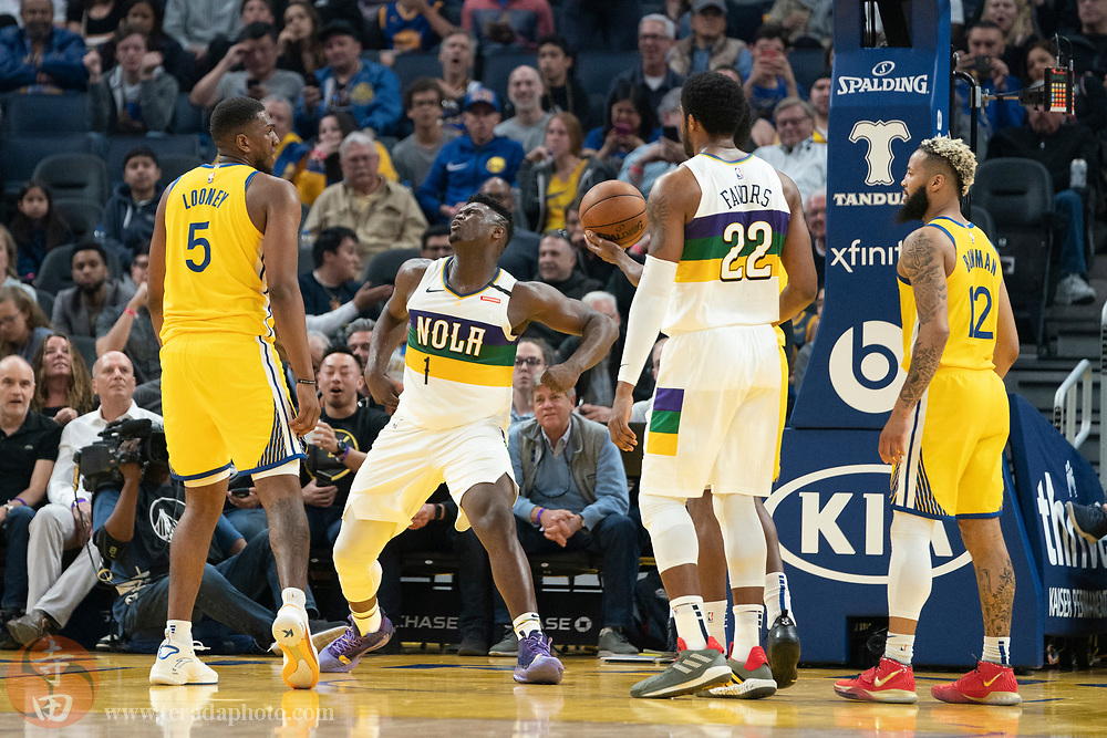 February 23, 2020; San Francisco, California, USA; New Orleans Pelicans forward Zion Williamson (1) celebrates during the second quarter against the Golden State Warriors at Chase Center.
