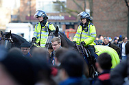Police arrive on horses outside Loftus Road Stadium before k/o. Barclays Premier league match, Queens Park Rangers v Manchester Utd at Loftus Road in London on Saturday 17th Jan 2015. pic by John Patrick Fletcher, Andrew Orchard sports photography.