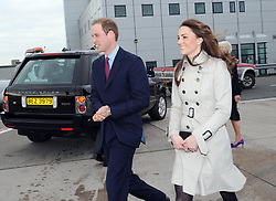 Prince William and his bride-to-be Kate Middleton arrive at George Best Belfast City Airport this morning at the start of their one day visit to Northern Ireland.