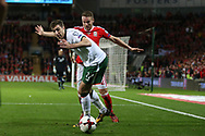 Stephen Ward of Republic of Ireland shields the ball from Chris Gunter of Wales. Wales v Rep of Ireland , FIFA World Cup qualifier , European group D match at the Cardiff city Stadium in Cardiff , South Wales on Monday 9th October 2017. pic by Andrew Orchard, Andrew Orchard sports photography