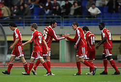 Players of Interblock celebrate (Covic and Ilicic) at 29th Round of Slovenian First League football match between NK Interblock and NK Primorje at ZAK Stadium, on April 20, 2009, in Ljubljana, Slovenia. (Photo by Vid Ponikvar / Sportida)