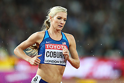London, August 11 2017 . Emma Coburn, USA, heads for gold in the women's 3000m steeplechase final on day eight of the IAAF London 2017 world Championships at the London Stadium. © Paul Davey.