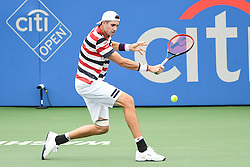August 2, 2018 - Washington, D.C, U.S - JOHN ISNER hits a backhand during his 2nd round match at the Citi Open at the Rock Creek Park Tennis Center in Washington, D.C. (Credit Image: © Kyle Gustafson via ZUMA Wire)