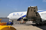 Israel, Ben-Gurion international Airport El Al Boeing 767 Passenger Jet on the ground