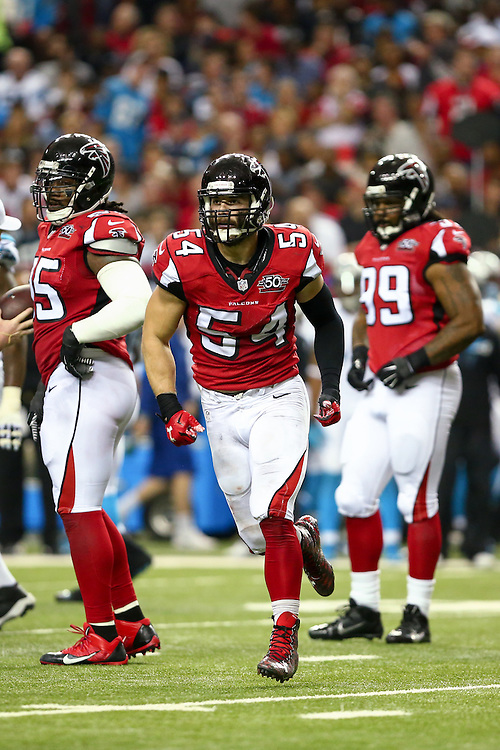 Atlanta Falcons outside linebacker Nate Stupar during the game against the Charlotte Panthers at the Georgia Dome on Sunday, Dec. 27, 2015. The Falcons defeated the Panthers 20-13, ending their perfect season. Photo by Kevin D. Liles