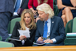 © Licensed to London News Pictures. 11/07/2018. London, UK. Holly Branson and Sir Richard Branson and HRH The Duchess of Cornwall watches centre court tennis in the royal box at the Wimbledon Tennis Championships 2018, at the All England Lawn Tennis and Croquet Club. Photo credit: Ray Tang/LNP
