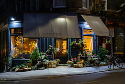 Night view of Narcissus florist shop on Broughton Street, Edinburgh, Scotland, UK