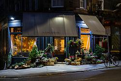 Night view of Narcissus florist shop on Broughton Street, Edinburgh, Scotland, UK