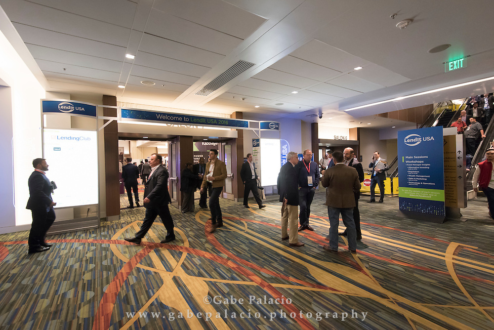 Expo Hall at the LendIt USA 2016 conference in San Francisco, California, USA on April 11, 2016. (photo by Gabe Palacio)