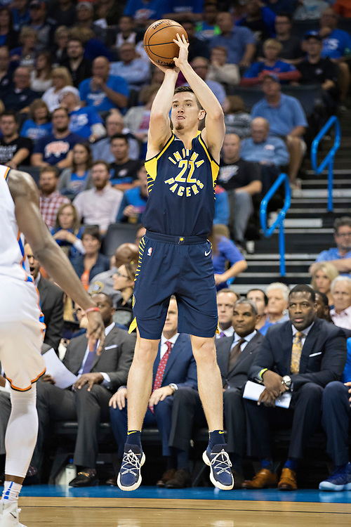 OKLAHOMA CITY, OK - OCTOBER 25:  TJ Leaf #22 of the Indiana Pacers shoots a jump shot during a game against the Oklahoma City Thunder at the Chesapeake Energy Arena on October 25, 2017 in Oklahoma City, Oklahoma.  NOTE TO USER: User expressly acknowledges and agrees that, by downloading and or using this photograph, User is consenting to the terms and conditions of the Getty Images License Agreement.  The Thunder defeated the Pacers 114-96.  (Photo by Wesley Hitt/Getty Images) *** Local Caption *** TJ Leaf