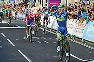 Caleb Ewan (AUS) of Orica BikeExchange celebrates his stage win at the Tour of Britain 2016 stage 8 , London, United Kingdom on 11 September 2016. Photo by Mark Davies.