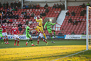 Wrexham's goalkeeper Luke Coddington makes a save during the Vanarama National League match between Wrexham FC and Forest Green Rovers at the Racecourse Ground, Wrexham, United Kingdom on 26 November 2016. Photo by Shane Healey.