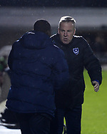 Jimmy Floyd Hasselbaink,  the manager of Northampton Town with Kenny Jackett, the manager of Portsmouth (r). EFL Skybet Football League one match, Northampton Town v Portsmouth at the Sixfields Stadium in Northampton on Tuesday 12th September 2017. <br /> pic by Bradley Collyer, Andrew Orchard sports photography.