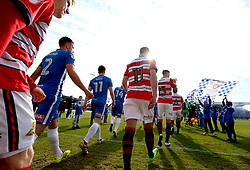 Hartlepool United and Doncaster Rovers walk out at The Northern Gas and Power Stadium for their Sky Bet League Two fixture - Mandatory by-line: Robbie Stephenson/JMP - 06/05/2017 - FOOTBALL - The Northern Gas and Power Stadium (Victoria Park) - Hartlepool, England - Hartlepool United v Doncaster Rovers - Sky Bet League Two
