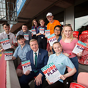 31.05.2018.          <br /> Limerick and Clare Education Training Board launch Youth Work Plan 2018-2021 at Thomond Park Limerick with Pat Breen TD, Minister of State with special responsibility for Trade, Employment, Business, EU Digital Single Market and Data Protection, Clare. <br /> <br /> Pictured at the event were, Pat Breen TD, Minister of State with special responsibility for Trade, Employment, Business, EU Digital Single Market and Data Protection, Clare with, Tadhg Hession, Cillian Hickey, Ciara Lowe, Aifric Nevin, Victor Hogan, Isha Lazo, Nikita Fitzgerald and Jacqueline Hogan. Picture: Alan Place