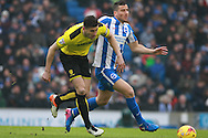 Burton Albion defender John Mousinho (4) & Brighton & Hove Albion centre forward Tomer Hemed during the EFL Sky Bet Championship match between Brighton and Hove Albion and Burton Albion at the American Express Community Stadium, Brighton and Hove, England on 11 February 2017. Photo by Bennett Dean.