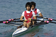 2005 FISA Rowing World Cup Munich,GERMANY. 18.06.2005; HKG LM2X Bow. Ting Wai Lo and Sau Wah So. Photo  Peter Spurrier. .email images@intersport-images...[Mandatory Credit Peter Spurrier/ Intersport Images] Rowing Course, Olympic Regatta Rowing Course, Munich, GERMANY