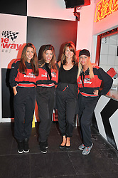 Left to right, JAYNE BLIGHT, EMMA NETTLETON, GABRIELLA PEACOCK and SOPHIE STANBURY at a Girl Karting - a charity Go-Karting evening in aid of Too Many Women held at The Raceway, 3 Herringham Road, London SE7 on 12th September 2012.