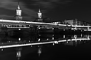 Oberbaum Brücke at night.  I found the right frame at the very end of the shoot.  Berlin, Germany.
