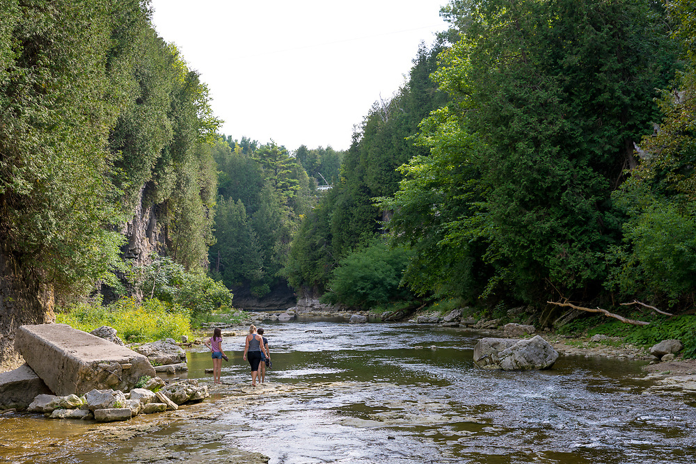 Irvine Creek and the Irvine River Bridge in the Elora Gorge in downtown Elora, Ontario, Canada