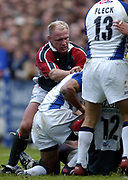 Leicester, England UK., 9th October 2004,  Zurich Premiership Rugby, Leicester Tigers vs Bath Rugby, Welford Road,<br /> [Mandatory Credit: Peter Spurrier/Intersport Images],<br /> Neil Back working around the fringes of the ruck.