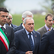 LONGARONE, ITALY - OCTOBER 09:  Mayor of Longarone (L),Ê President of Senato Pietro Grasso (C) and Luca Zaia (R) arrive for the remembrance for the Vajont victims on October 9, 2013 in Longarone, Italy. Today is the 50th anniversary of the Vajont disaster, which occurred on 9th October 1963, and is the worst landslide disaster in European history with 2000 people killed.  (Photo by Marco Secchi/Getty Images)