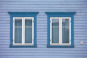 Traditional architecture wooden building in city of Tromso, in the Arctic Circle in Northern Norway
