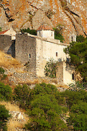 Byzantine chapels of the old Bronze Age  hill village of Paliachora (894),  Aegina - Colonna , Greek Saronic Islands .<br /> <br /> If you prefer to buy from our ALAMY PHOTO LIBRARY  Collection visit : https://www.alamy.com/portfolio/paul-williams-funkystock/aegina-greece.html <br /> <br /> Visit our GREECE PHOTO COLLECTIONS for more photos to download or buy as wall art prints https://funkystock.photoshelter.com/gallery-collection/Pictures-Images-of-Greece-Photos-of-Greek-Historic-Landmark-Sites/C0000w6e8OkknEb8