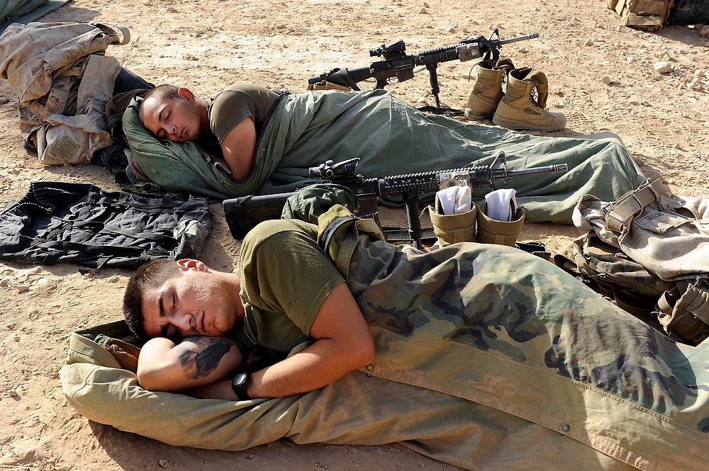 9/8/10 1:47:11 AM -- -- <br /> 1st Battalion, 2nd Marine Regiment, Weapons Company marines sleep at the platoons remote outpost Kunjak following a night mission in the Musa Qala area.  <br /> <br /> Photo by Jack Gruber, USA TODAY Staff