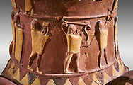 Close up of the Inandik Hittite relief decorated cult libation vase decorated with relif figures coloured in cream, red and black. The processional figures include musicians and acrobats, mid to late 16th century BC - İnandıktepe, Turkey . Against a grey background