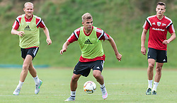 13.07.2015, Waldstadion, Mittersill, AUT, Trainingslager, FC Ingolstadt 04, im Bild v.l.: Tobias Levels (FC Ingolstadt), Lukas Hinterseer (FC Ingolstadt), Robert Bauer (FC Ingolstadt) // during the Trainingscamp of German Bundesliga Club FC Ingolstadt at the Waldstadion in Mittersill on 2015/07/013. EXPA Pictures © 2015, PhotoCredit: EXPA/ JFK