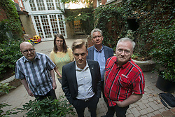 June 13, 2017 - Toronto, ON, Canada - TORONTO, ON - JUNE 13: Toronto City Councillor Joe Cressy (centre) with tennants of 401 Richmond Street West are hoping for some kind of legislative tax break. The building is has a number of non profit, cultural enterprises which may lose their home.  From left, Marc Gassman, Jennifer Bhogal, Joe Cressy, David Plante and Bruce Pickton. Toronto Star/Rick Madonik Rick Madonik/Toronto Star (Credit Image: © Rick Madonik/The Toronto Star via ZUMA Wire)