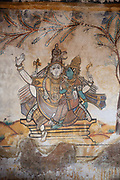 Paintings in the Brihadeeswarar temple on 25th November 2009 in Tanjore / Thanjavur, Tamil Nadu, India. Brihadeeswarar Temple, also called Rajarajesvaram or Peruvudaiyar Kovil, is a Hindu temple dedicated to Shiva located in South bank of Kaveri river in Thanjavur, Tamil Nadu, India. It is one of the largest South Indian temples and an exemplary example of a fully realized Dravidian architecture. .